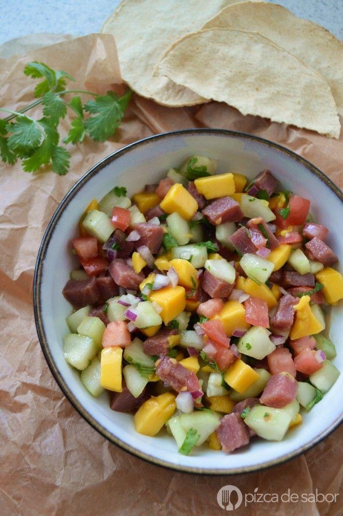 Ceviche de atún con mango | http://www.pizcadesabor.com