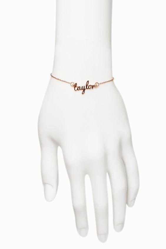 Freshfiber Hashtag Personal Name Bracelet Plated in Rose Gold   From Freshfiber.com
