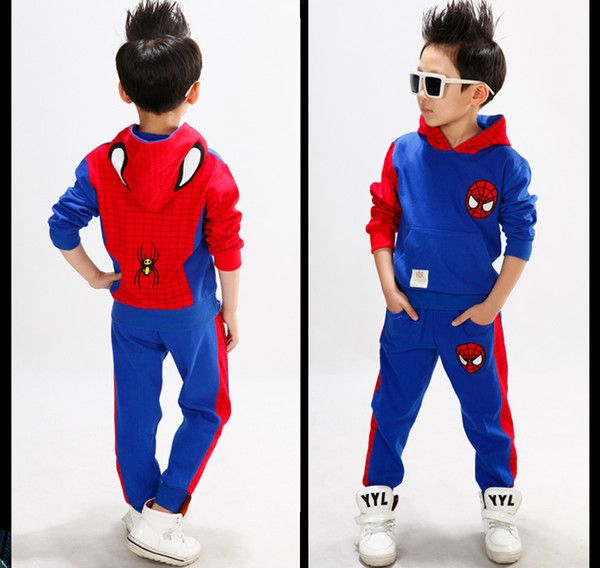 2014autumn fashion boy children spiderman design clothing suits casual cotton blends hooded full sleeve shirt and hants retail free shipping