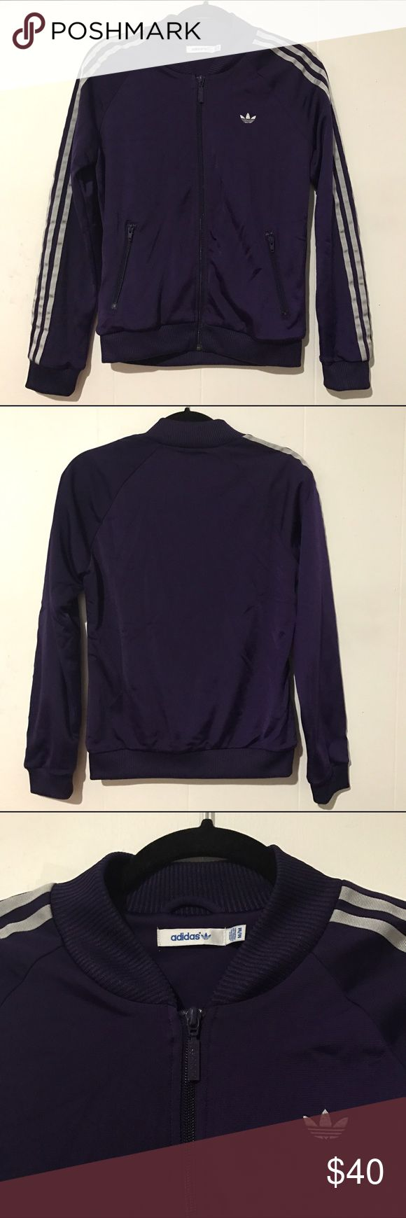 Adidas womens zip up jacket 🎈PRICE DROP🎈 Adidas womens zip up jacket with 2 pockets that have zippers. NWOT. Purple color. Size is Medium. Very comfortable. No stains. No flaws. *feel free to make a reasonable offer ;) Adidas Jackets & Coats