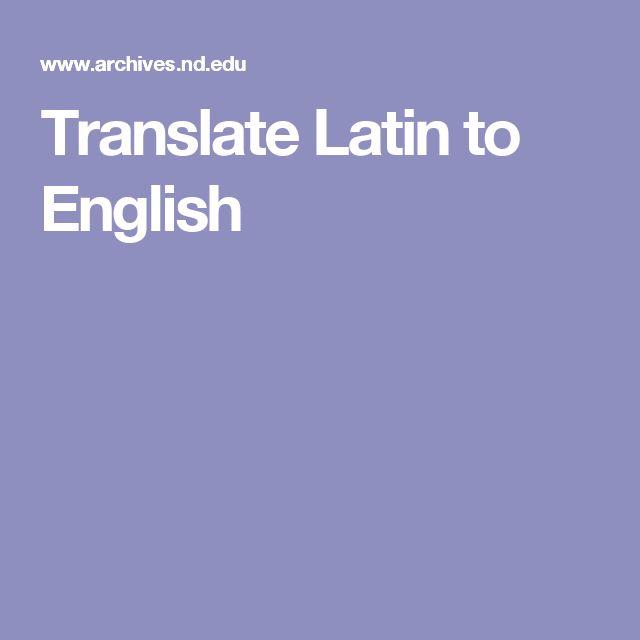 Translate Latin to English