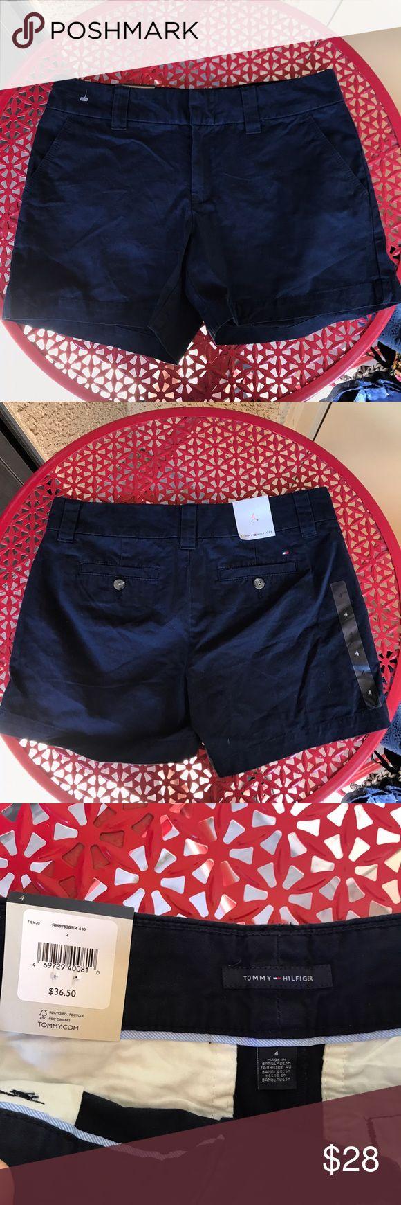 NWT Tommy Hilfiger navy blue chino shorts Brand new with tags. Tommy Hilfiger navy blue Chino style shorts.  Size 4. Chino style shorts. Tommy Hilfiger Shorts