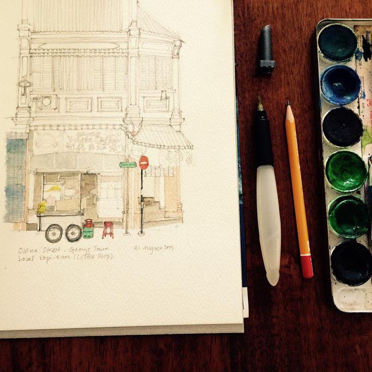 Roadside hawker & kopitiam #sketch #painting #watercolour #watercolor #georgetown # Penang #shophouse #hawker #kopitiam