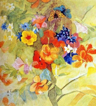 (Korea) Bunch of Flowers by 千鏡子 Chun Kyung Ja (1924-2015). 꽃무리