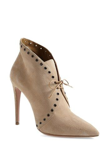 Prada Pointed Toe Lace Front Bootie available at #Nordstrom