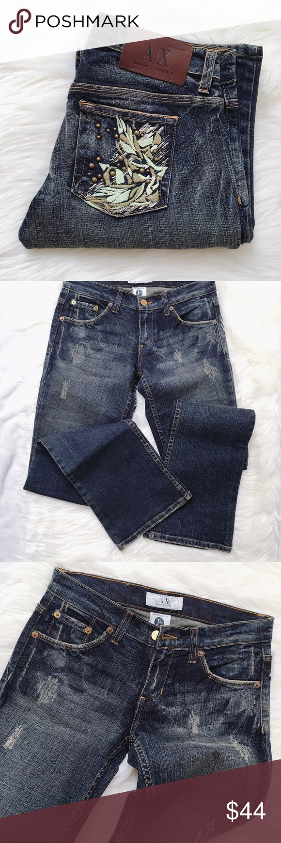 """Armani Exchange low rise boot cut jeans Boot cut jeans in excellent condition. Waist is 13 1/2"""" across and 31"""" inseam. Armani Exchange Jeans Boot Cut"""