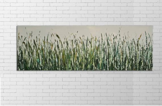 Long Narrow Art Large Green Artwork Oversized Green Art Oil Green Landscape Horizontal Large Art Narrow Wall Art Green Artwork Green Landscape Grass Painting