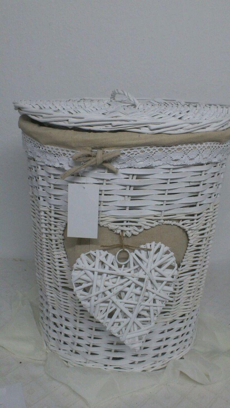 Großer Wäschekorb*Rattan*mit Herz Leineneinsatz *Spitzenborde weiß rund 57cm Neu in Möbel & Wohnen, Haushalt, Wäsche | eBay
