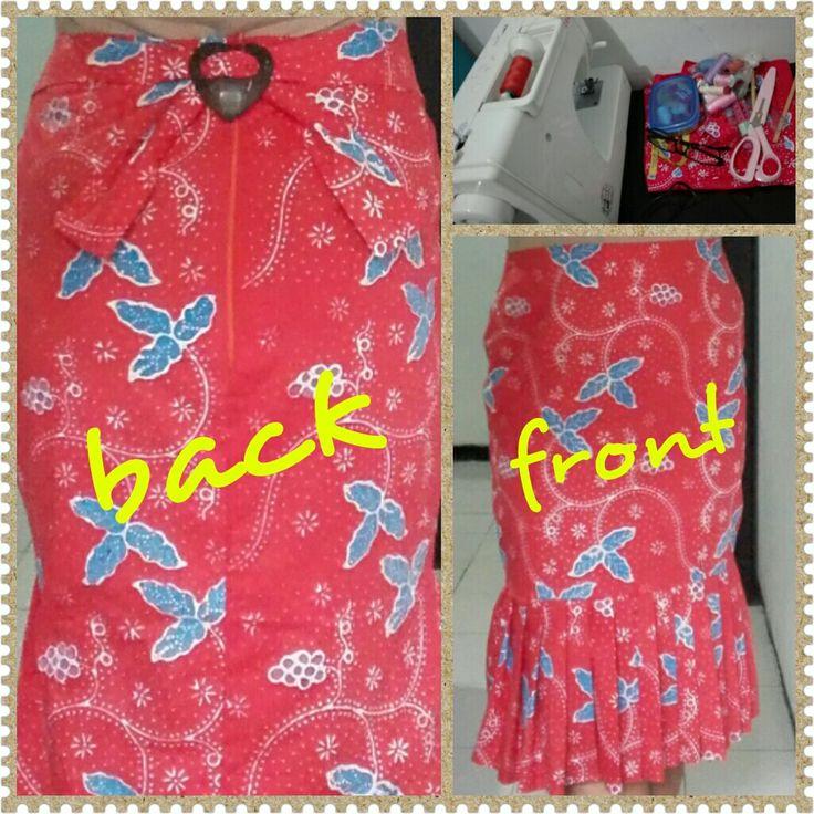 Orange batik skirt with frills and back details - self made