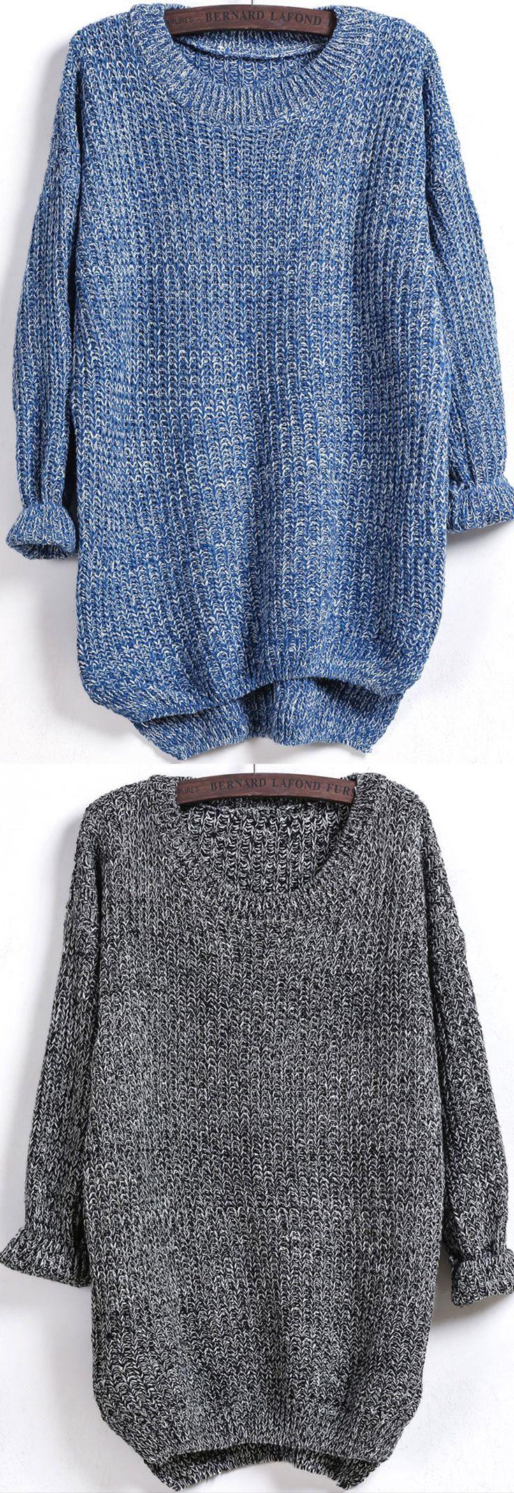 Dipped Hem Loose Knit Blue Sweater