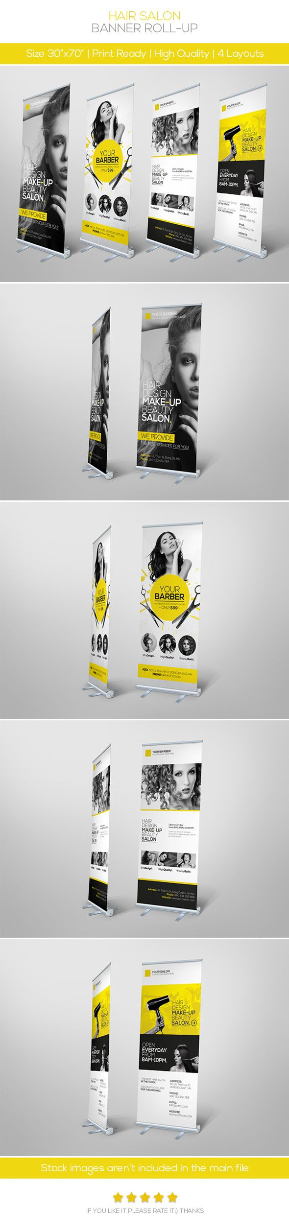 premium hair salon roll up banner