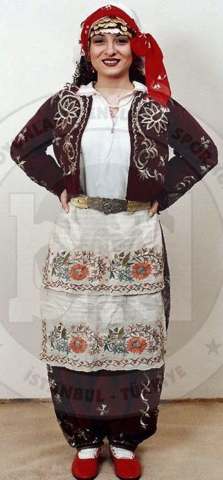 Traditional festive costume from Trakya/Thrace.  Turkish, c. 1925.  The velvet 'şalvar' (baggy trousers) & 'cepken' (long-sleeved vest) are adorned with 'goldwork' embroidery in 'Maraş işi'-technique.  (Costume Collection of the Bakırköy Halk Oyunları Derneği, Istanbul).