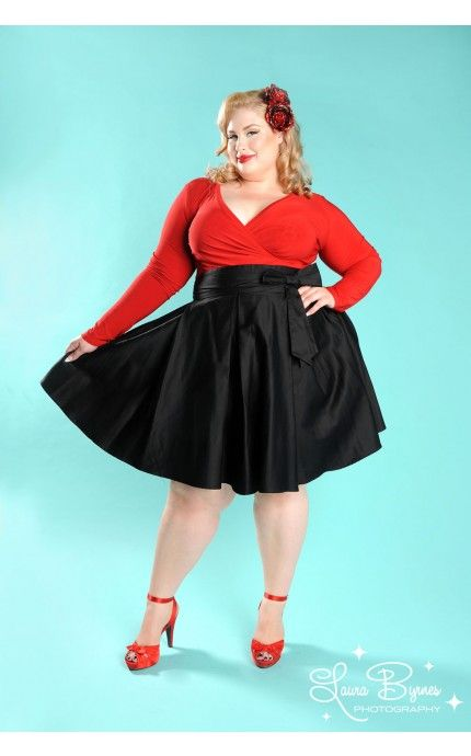 Pinup Girl Clothing- Audrey Skirt in Black - Plus Size | Pinup Girl Clothing--- could work with gothic, or a more everyday look... that simple black skirt you've been hunting for, neh? xl to 4x