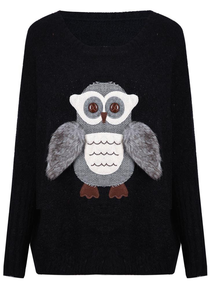 @Stephanie Klinginsmith Black Round Neck Patched Fur Wing Owl Sweater