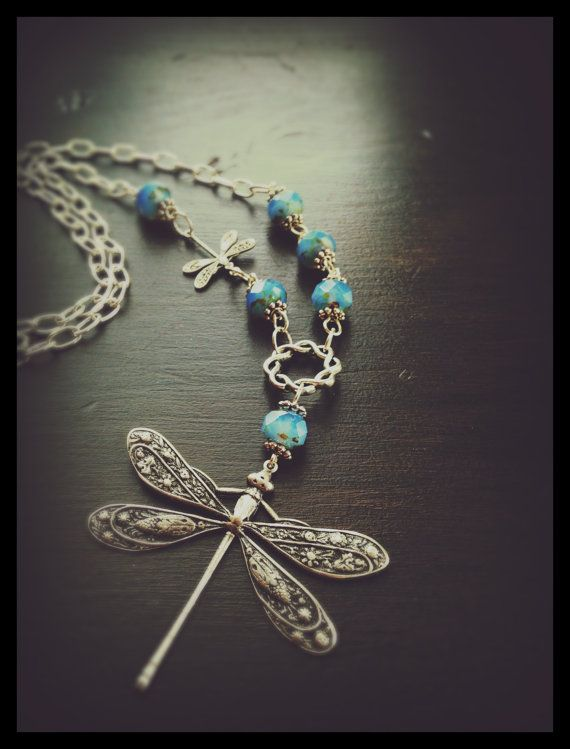 Dragonfly necklace with baby dragonfly adorned with Forget Me Not Opal colored fire polished Czech Picasso beads