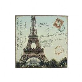 Køb metalskilt Carte postale med Eiffeltårnet online - Aura4laura webshop