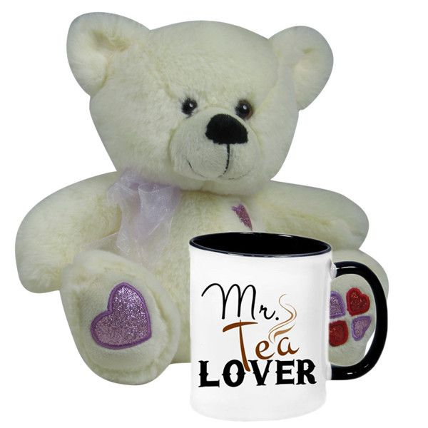 #ValentinesHampers (Mr Tea Lover Mug With Teddy Bear) This pretty #teddybear is an endearing way to show your beloved how much you love her/him. Happy Valentine's Day! Size :Height : 50 cm X Length : 40 cm X Width : 20 cm. Mr. tea Lover - MUG. Rs. 2,198 : Shop Now : http://hallmarkcards.co.in/collections/valentines-hampers/products/personalised-send-valentine-gifts