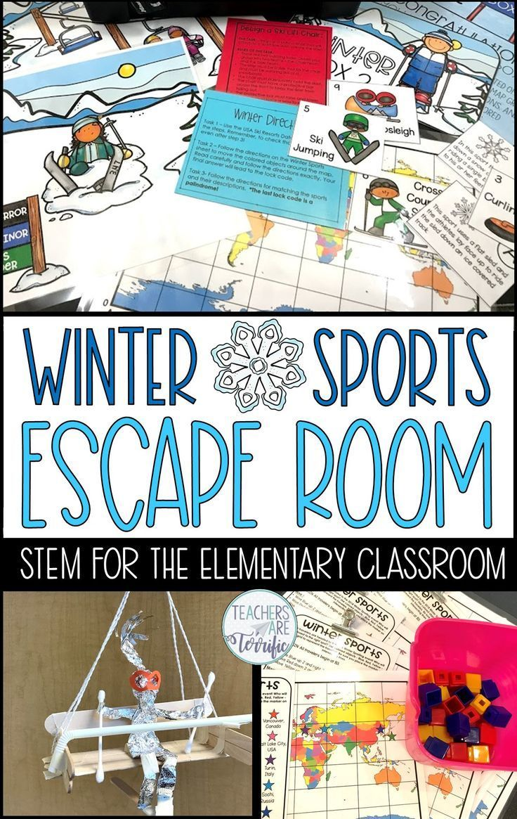Escape room with winter sports winter stem activities