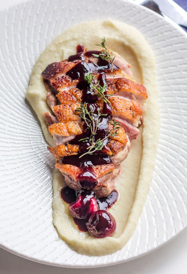 Duck Breast with Cherry Jus and Celeriac Puree | Foodie Story