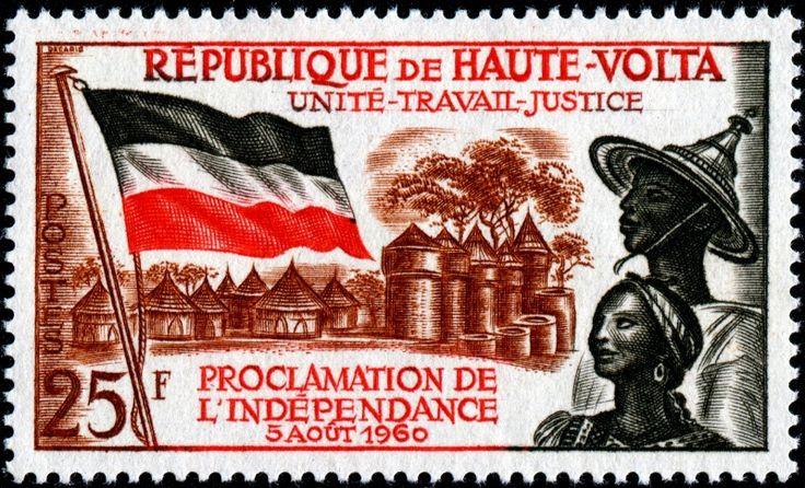 1960 Decaris Burkina Faso-Flag VillageCouple-Independence