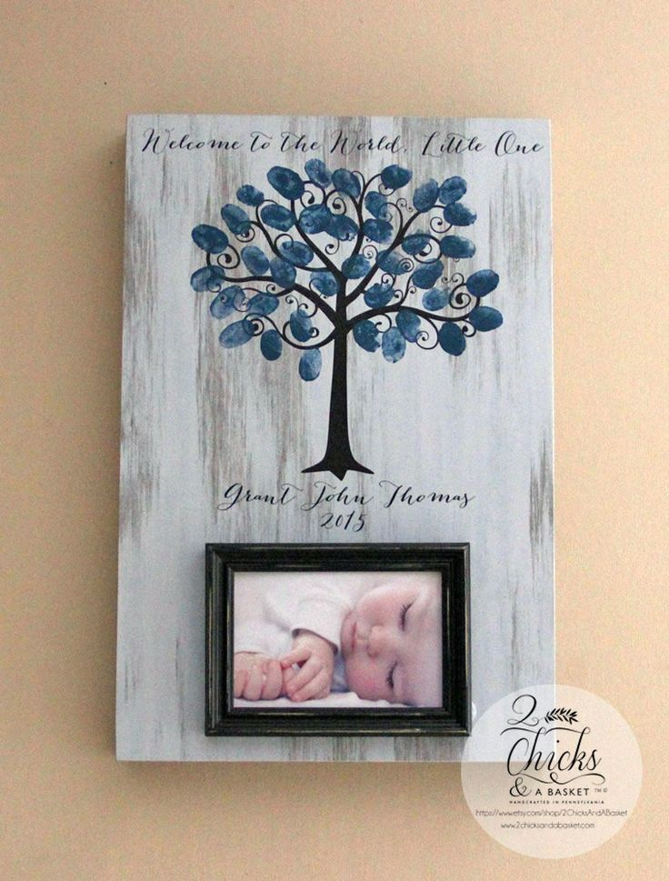 Baby Shower Fingerprint Tree Picture Frame, Guest Book Alternative, Welcome To The World Little One