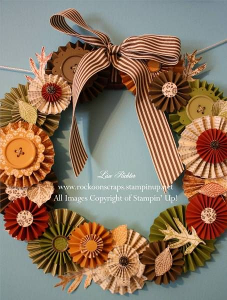 Paper rosette wreath; accordion wreath; French Foilage / Spice Cake Rosette Wreath by Rockoon - Cards and Paper Crafts at Splitcoaststampers