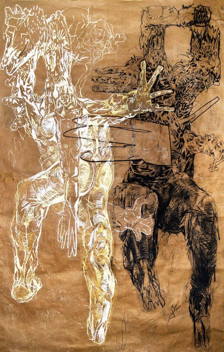 The Big Talk by Piotr Dudek #art #artist #painting #drawing #paper #gallery