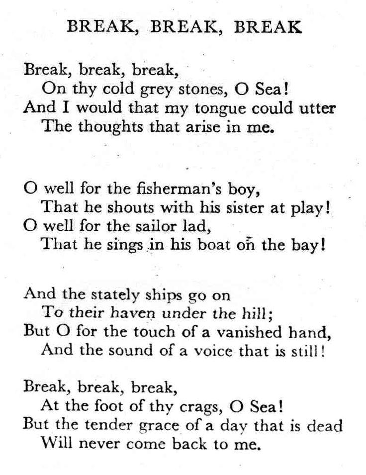 the poem break break break