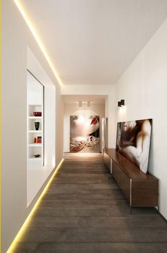 Cove lighting, console, art, modern, wood flooring
