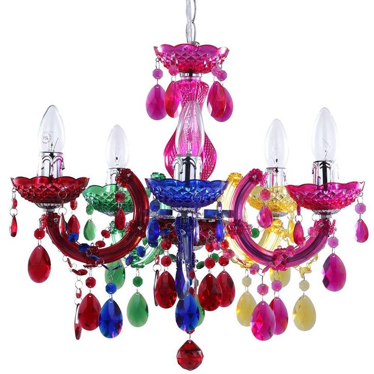 Marie therese 5 light dual mount chandelier multi colour