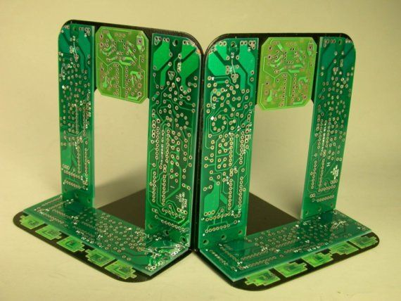 Recycled Computer Circuit Board Geekery Bookends For The Bookworm For