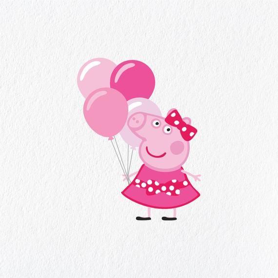Peppa Pig Inspired Pink Balloon Birthday Pack Diy Create Invitations Svg Png Dxf Birthday Party De Peppa Pig Christmas Peppa Pig Birthday Party Peppa Pig Party