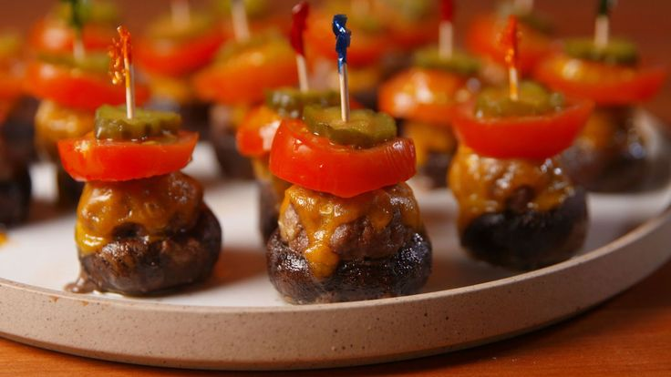 Burger Stuffed Mushrooms (could do some variations on this theme - pizza, caprese, etc)