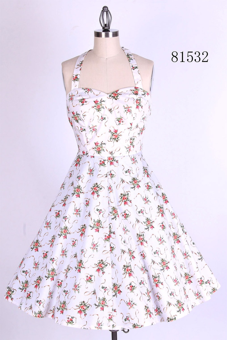 White Floral Halter Dress
