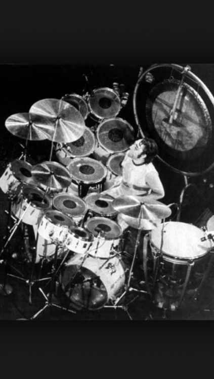 Keith Moon and his drum kit.