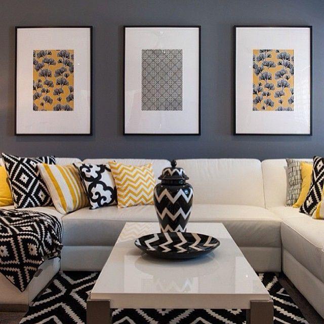 Living Room Black White Yellow Modern Decor Yellow Living Room Living Room Decor Apartment Grey And Yellow Living Room #white #grey #and #yellow #living #room