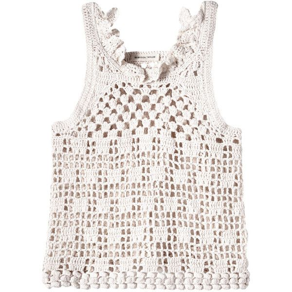 Rebecca Taylor Crochet Tank (10,415 THB) ❤ liked on Polyvore featuring tops, creamsicle, slimming tank, crop tank top, crochet crop tank, white crop top and white tank