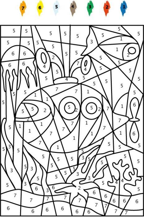 coloriage Jeu de coloriage numéroté : chiffres et mer 6