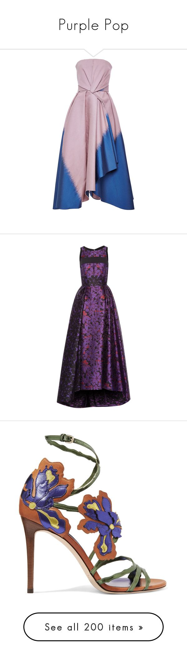 """Purple Pop"" by brassbracelets ❤ liked on Polyvore featuring dresses, gowns, strapless midi dress, midi dress, knot dresses, full midi skirts, jacquard dress, bags, handbags and clutches"