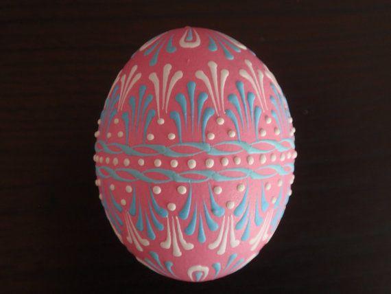 Pink Easter Egg, Wax Embossed Chicken Egg Pysanka