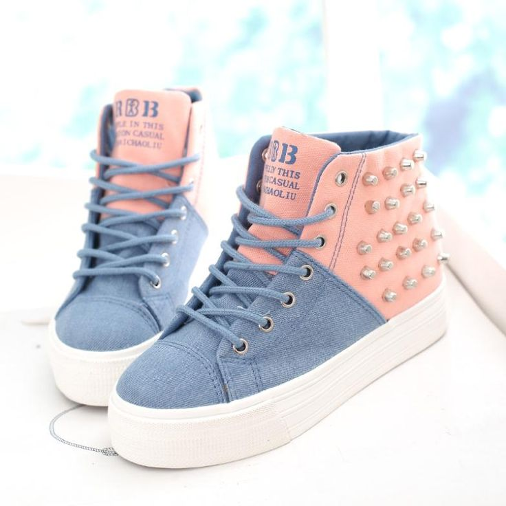 Free Sale Casual Shipping Sneakers 2014 Spring New Heavy-bottomed Platform Shoes Spell Color The Higher Rivets Canvas Women High $28.00