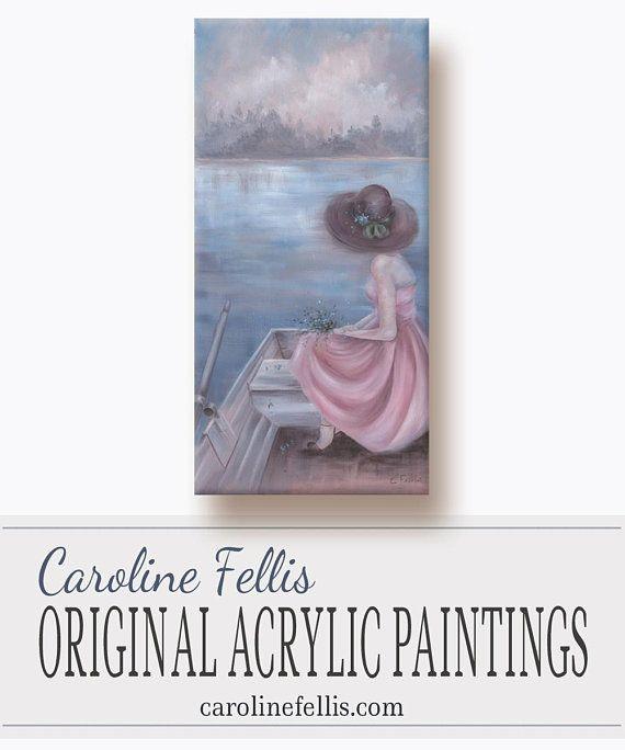 Pink Woman Painting  Figurative Acrylic Painting  Original