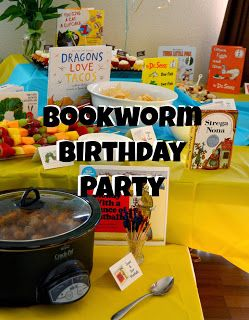 Bookworm Birthday Party list of all kinds of books and food to go with them... swap 1 fish 2 fish food for colored goldfish...