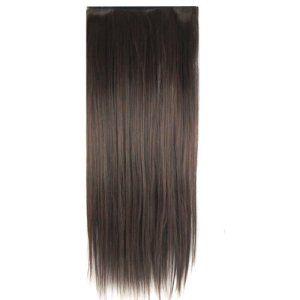 SODIAL(R) Perruque/Cheveux postiches Chocolat Long Droit Pour les femmes