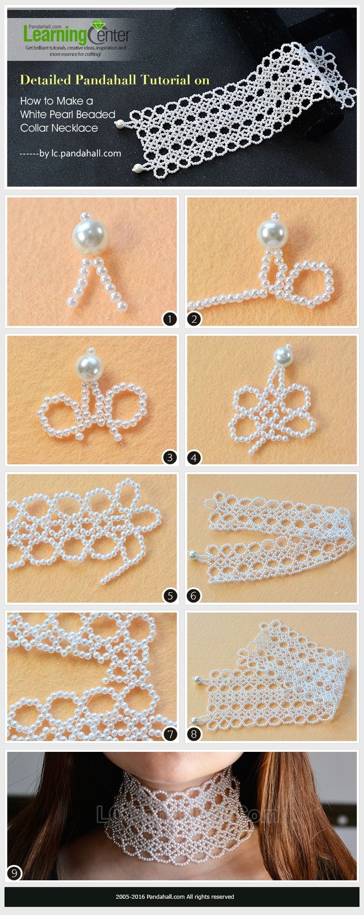 Detailed Pandahall Tutorial on How to Make a White Pearl Beaded Collar Necklace from LC.Pandahall.com