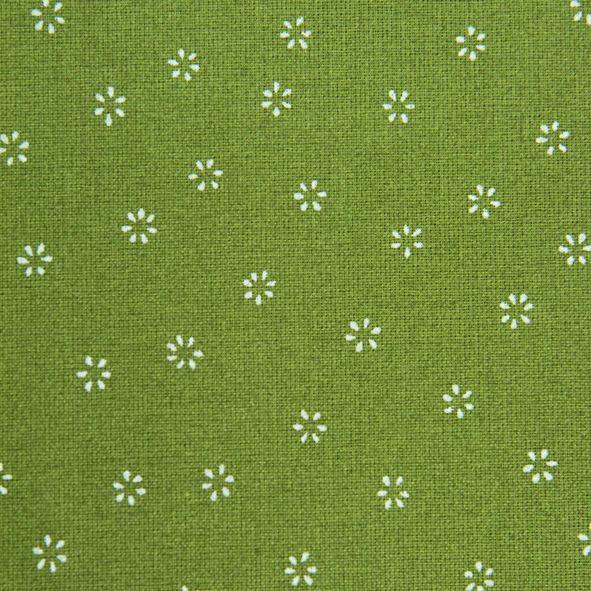 Bavlněná látka Kytičky na zelené