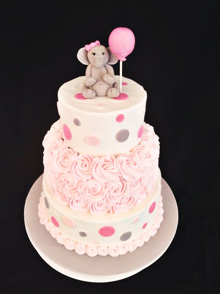 Cake Decorating Classes Hereford : Pink and Gray Elephant Baby Shower Cake, by Amy Hart ...