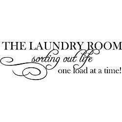 This beautiful vinyl art applies to smooth surfaces like walls, glass, tile and more. This art piece is easy to apply and features the phrase 'The Laundry Room: Sorting life out one load at a time.' A