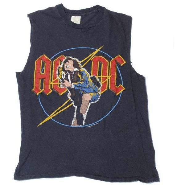 AC/DC Vintage T-Shirt 1980 ($125) ❤ liked on Polyvore featuring tops, t-shirts, star print top, cut off top and vintage tops