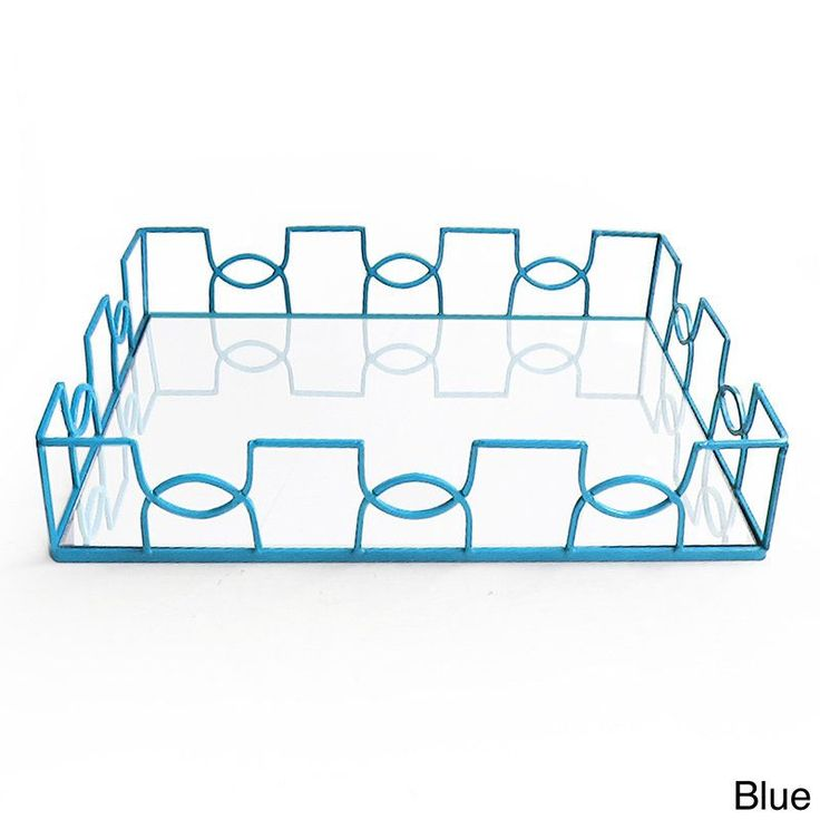 American Atelier Curved Metal and Glass Tray (Blue)